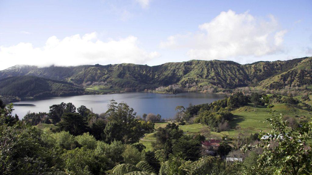 View of Lake Tutira, Hawkes Bay, New Zealand.