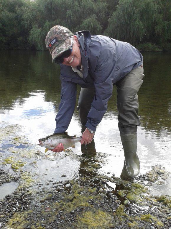 Belinda and mum fly fishing Tukituki river