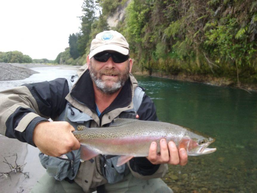 David Lee trout fishing on Waipawa river
