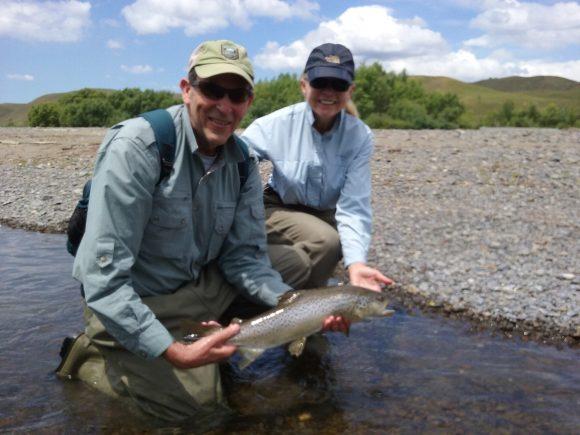 Bert and Taylor fishing Tuktuki river, Hawkes Bay