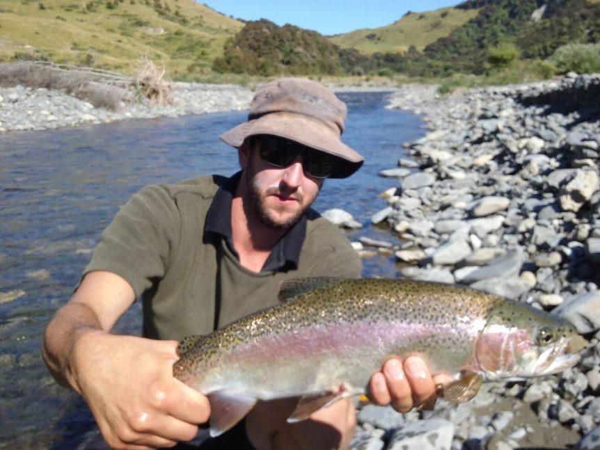 Jayden Jardine hooking up on big Hawkes Bay rainbow trout