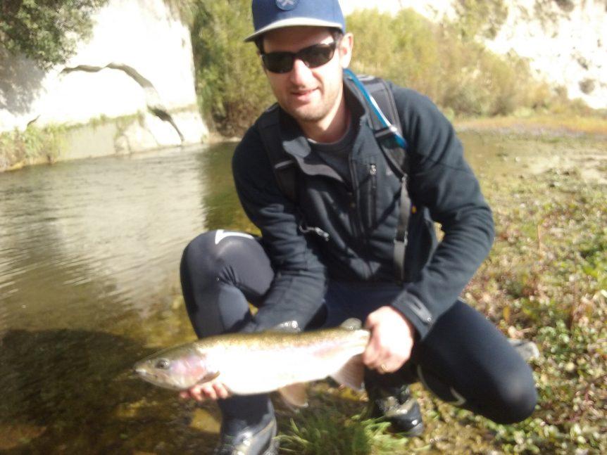 Mark hooking a nice Hawkes Bay rainbow trout