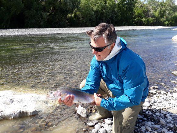 Max fly fishing at the Tukituki River, Hawkes Bay