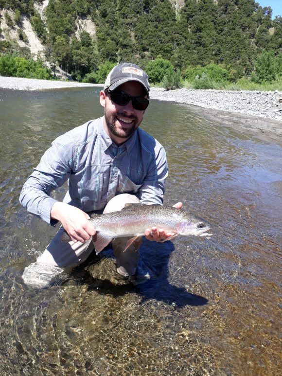 Nick Schradle enjoying Hawkes Bay trout fishing