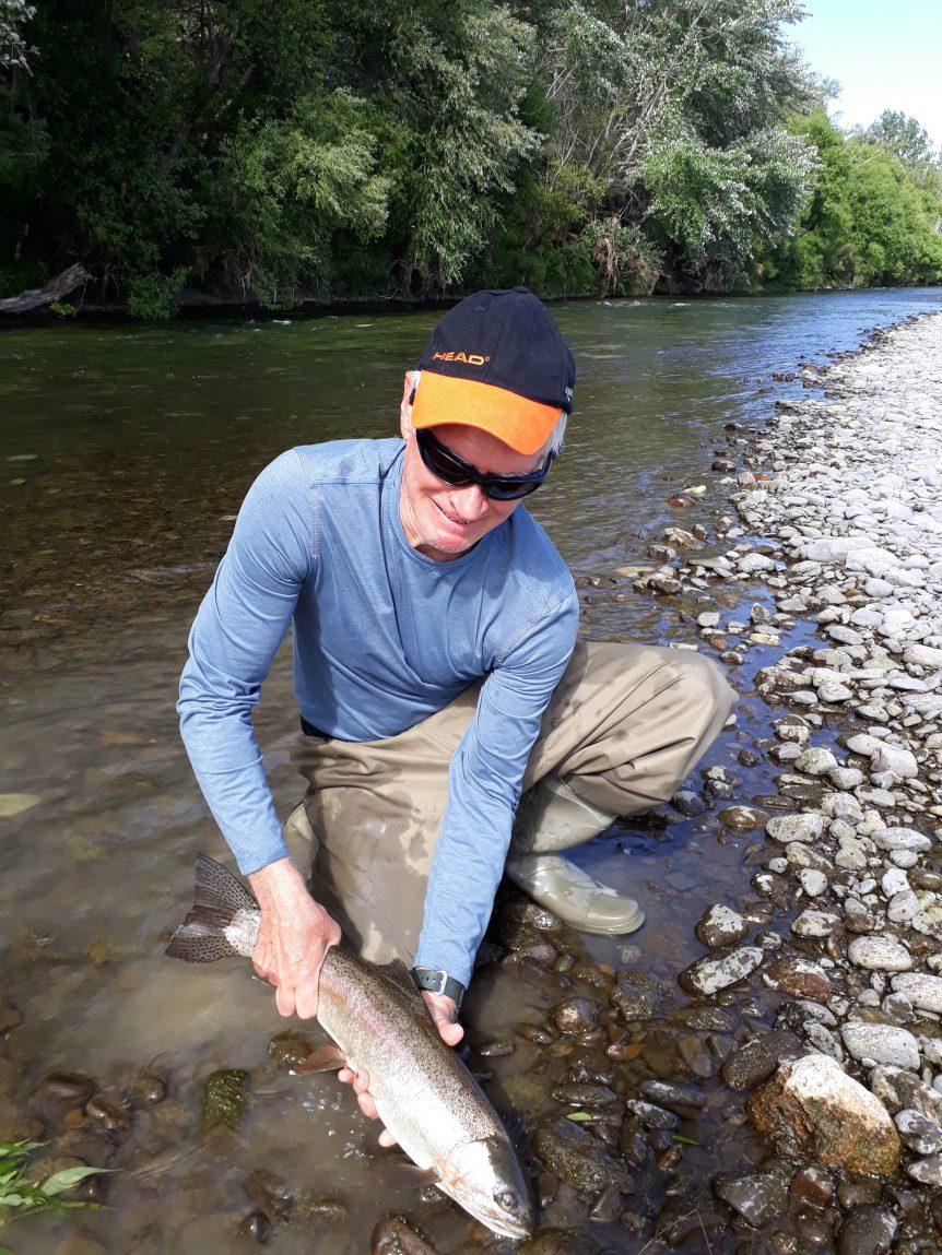Dan enjoying a day of trout fishing in Hawkes Bay