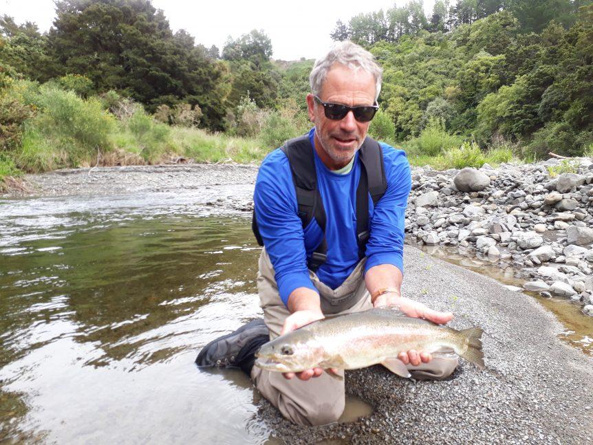Pat Hamb trout fishing in Hawkes Bay, NZ