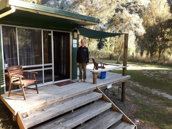 Mark Moore at Kirsty's camp on the Tutaekuri river in Hawkes Bay