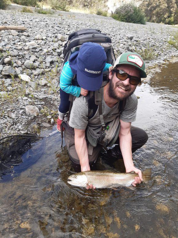 Tim Crouch and son on Tutaekuri river