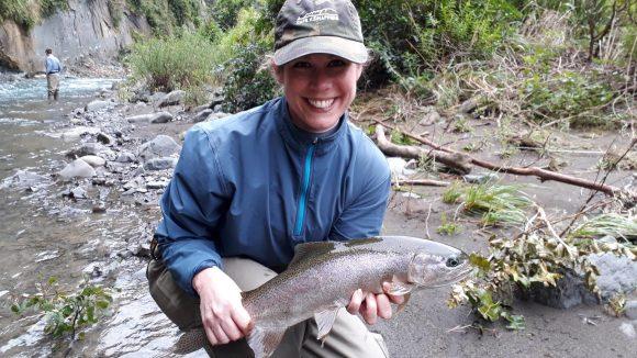 Catherine from USA fishing the upper Tutaekuri River NZ