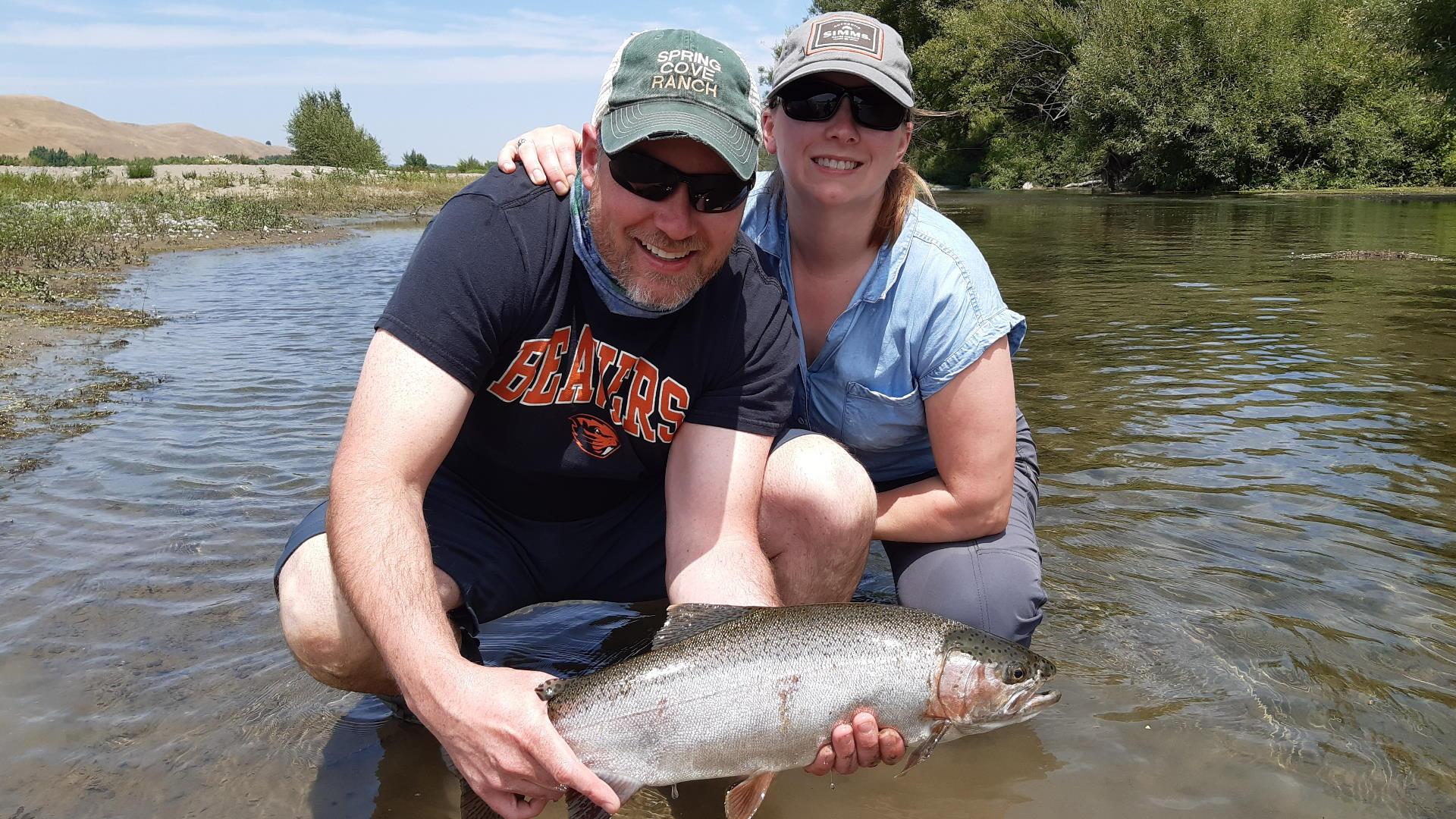 John and McKinzie with Tukituki River rainbow trout